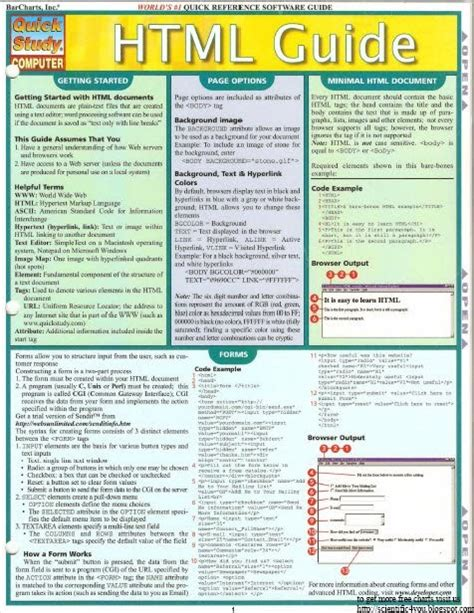 Pdf Sql Guide Quickstudy Inc Barcharts by Free Book Series Barcharts Quickstudy Html Guide