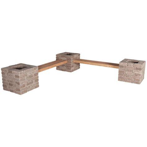 concrete benches home depot pavestone rumblestone rumblestone 114 in x 24 5 in