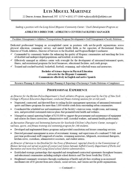 facilities manager resume sle athletic director and facility manager resume