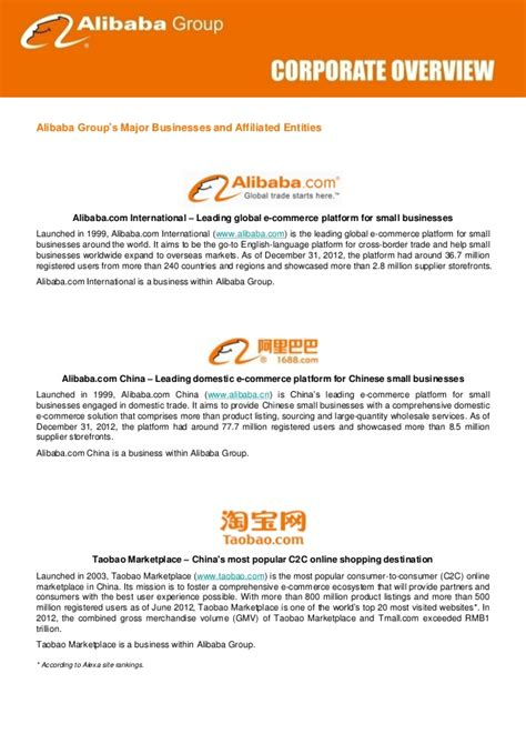 alibaba group fostering an e commerce ecosystem alibaba group corporate overview jan 2013