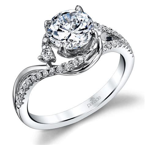 swirling split shank engagement ring in white gold