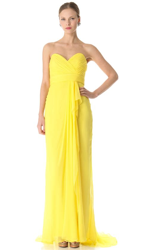 Marchesa Silk Chiffon Gown by Lyst Notte By Marchesa Strapless Silk Chiffon Gown In Yellow