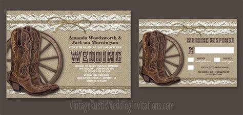 Cowboy Wedding Invitations by Burlap Wedding Invitations Vintage Rustic Wedding