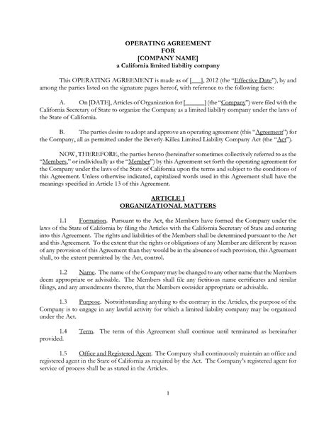 llc operating agreement template california best photos of california llc operating agreement template