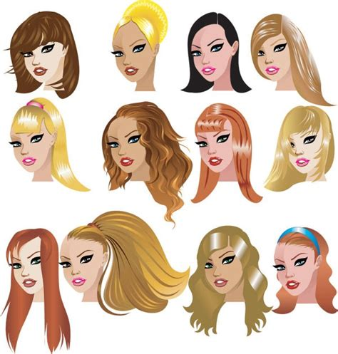 cartoon hairstyles vector cartoon hairstyles vector images