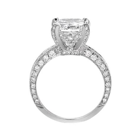 3 01 carat princess cut pave gold engagement ring