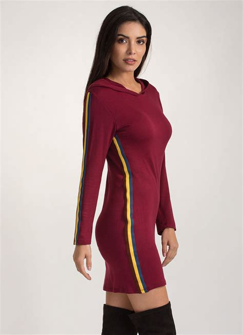 Striped Hoodie Dress fashion goal striped hoodie dress olive burgundy gojane