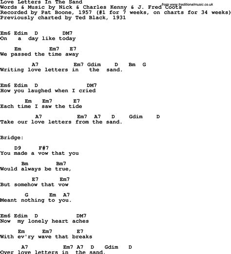 Letter In The Sand Pat Boone Lyrics Song Lyrics With Guitar Chords For Letters In The Sand Letters In The Sand