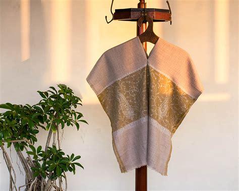 Pashmina Arabia Limited pashmina wool scarf grey paisley embroidery kop 225 i paar indian craft store