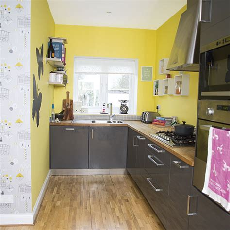 yellow and grey kitchen decorating ideal home