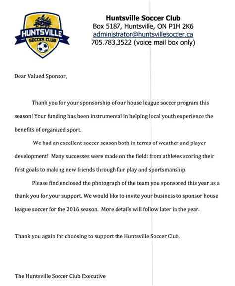 thank you letter to soccer team partnership letters drive muskoka