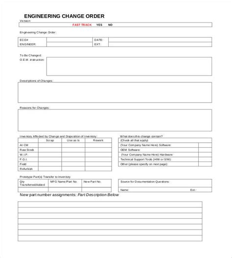 engineering change order template change order template exle sle exle project