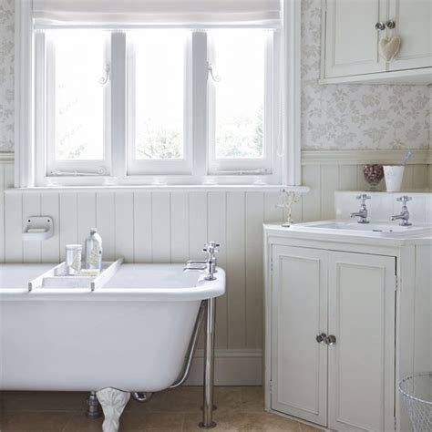 wood cladding bathroom walls white country bathroom wood cladding floral wallpapers