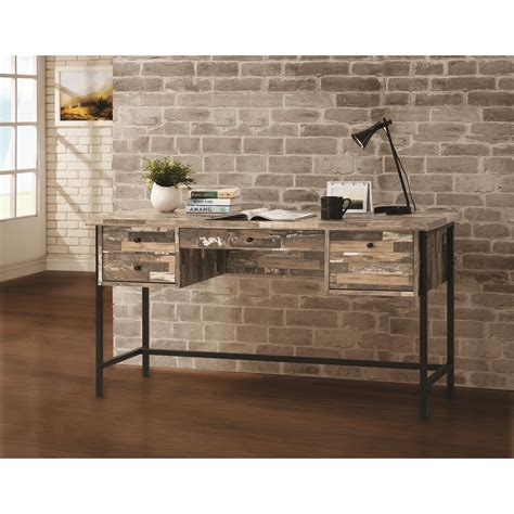 coaster 801235 rustic style writing desk with drawers