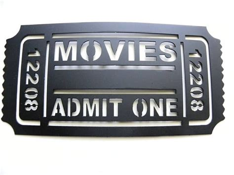 movie night new metal wall art home theater decor hand crafted movie ticket 2ft home theater decor movies
