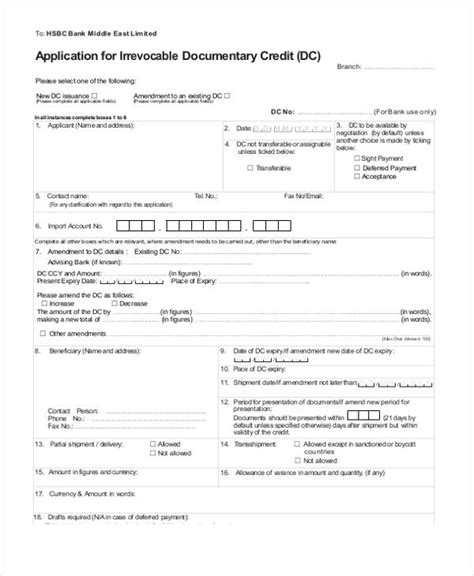 Irrevocable Documentary Credit Application Form 32 Credit Application Forms In Pdf