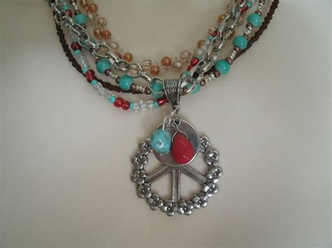 bohemian jewelry boho peace sign necklace boho jewelry hippie jewelry