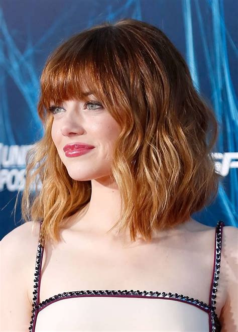 emma stone hairstyle emma stone beautiful subtle ombre with a long bob hair