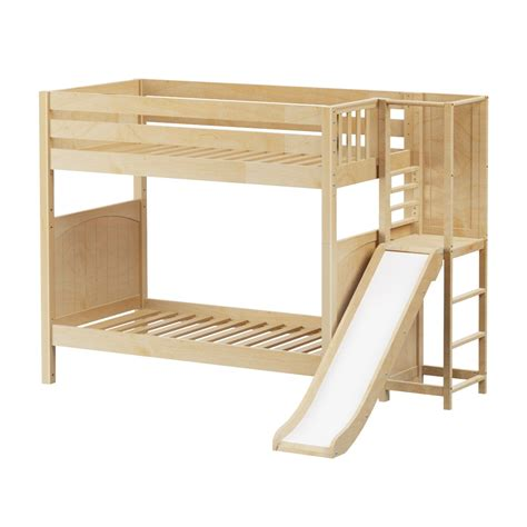 Bunk Bed With Slides Maxtrixkids Poof Np High Bunk Bed With Slide Platform On End Panel Bunk Beds
