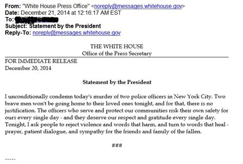 white house press release obama finally releases statement 22 hours after nyc police officers are murdered