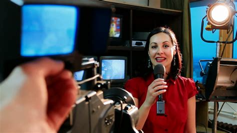 I Can Be Tv News Anchor 1 tv reporter in studio beautiful newscaster announces the news in the television studio