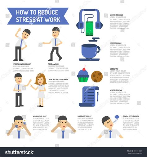 How To Search For Who Work At A Place How To Reduce Stress At Work Stock Vector Illustration 331774634