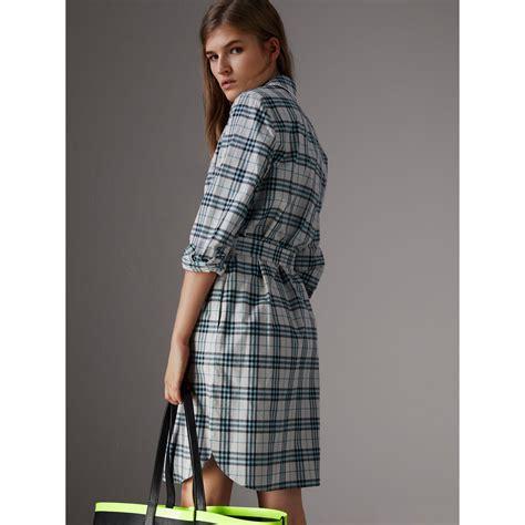 Lace Trim Collar Shirt lace trim collar check cotton shirt dress in pale