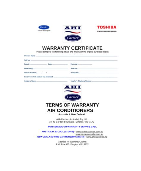 Warranty Card Template Word by Warranty Certificate Template 9 Free Word Pdf
