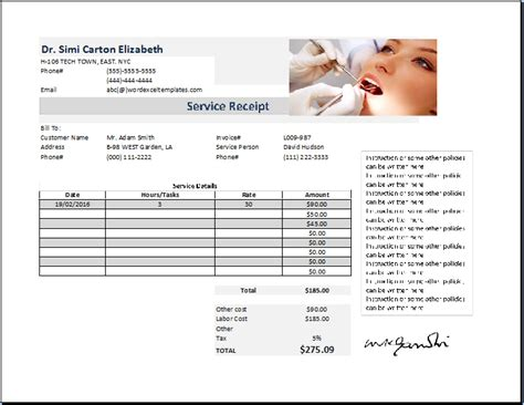 dental receipt template sle dental invoice template hardhost info