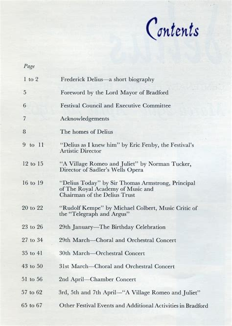 Content Of An Essay by Delius Centenary Festival 1962