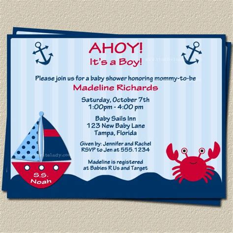 Nautical Theme Baby Shower Invitations by Ahoy Its A Boy Nautical Theme Baby Shower Invitations With