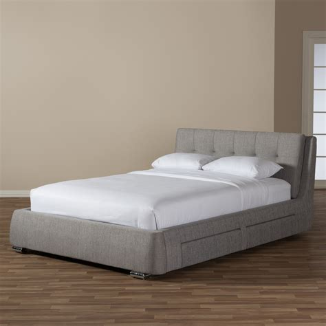 beds express baxton studio camile modern and contemporary grey fabric