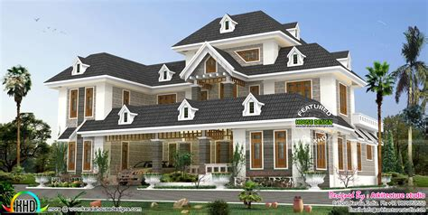 stylish colonial home with dormer windows kerala home