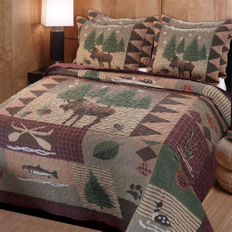 lodge comforter moose lodge rustic quilt bedding set