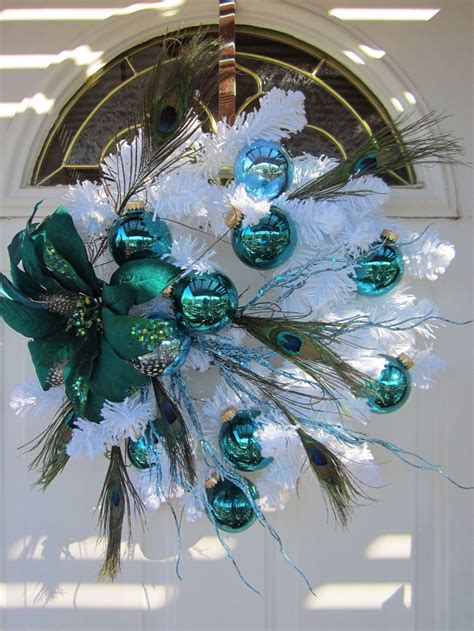 aqua blue christmas lights 99 best peacock christmas tree images on pinterest