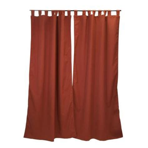 home depot outdoor curtains sunbrella 50 in x 96 in canvas henna outdoor tab top