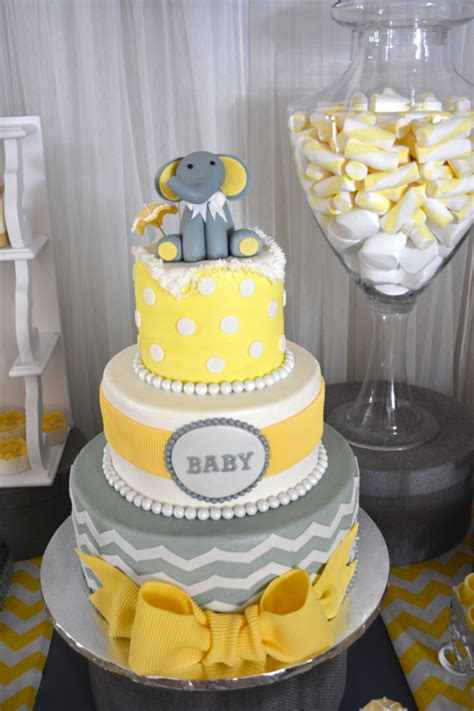 Yellow And Grey Baby Shower Cake by Baby Shower Cakes In Yellow And Gray Diabetesmang Info