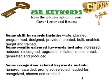 key words for cover letters cover letter and resume writing for high school students