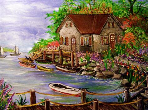 Cottage By The Bay by Cottage By The Bay Painting By Jim Hunsucker