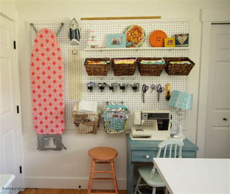 sewing room pegboard ideas creative thrifty small space craft room organization ideas the happy housie