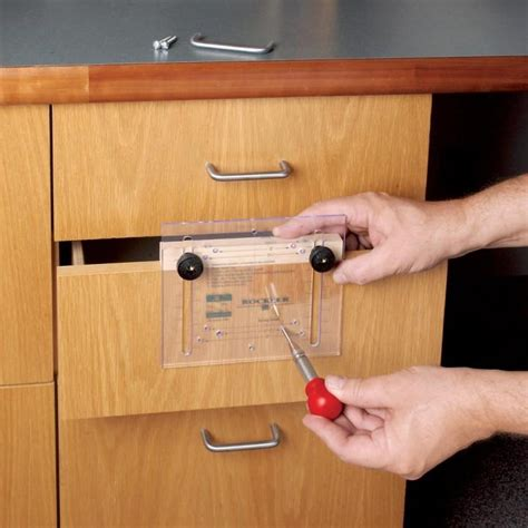 cabinet pull template drawer pull jig it 174 and center punch rockler woodworking