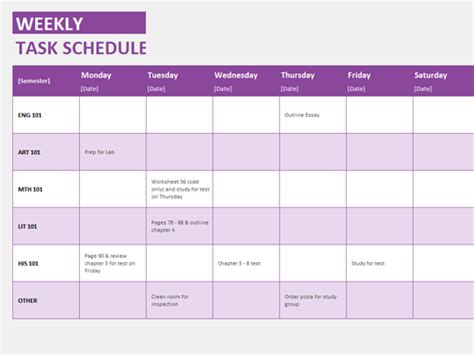 weekly task schedule templates office com