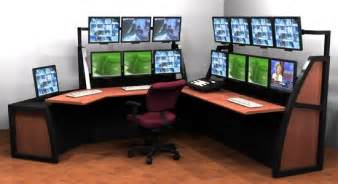 Small Computer Desk For Two Monitors Home Office Multi Monitor Desk Setting