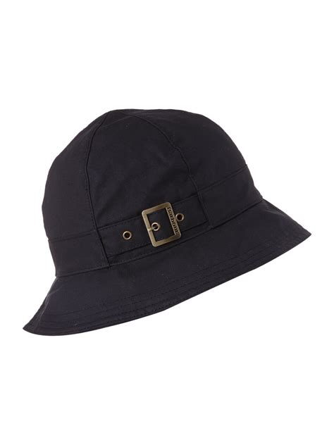 barbour wax trench hat in black for lyst