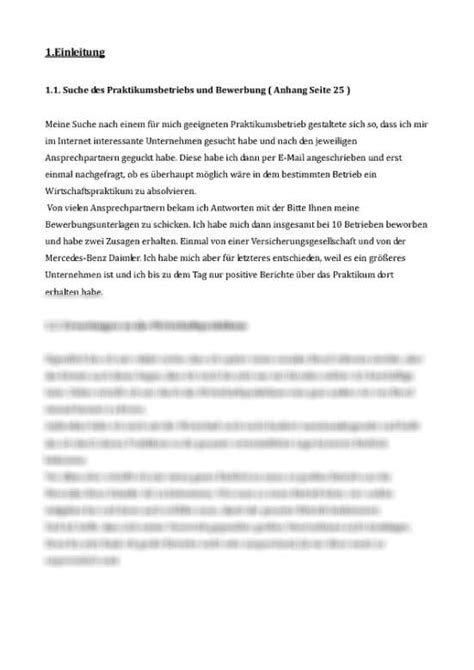 Praktikum Fazit Vorlage praktikumsbericht wirtschaftspraktikum bei mercedes