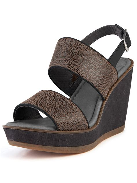hush puppies wedges hush puppies 174 hush puppies cores sling wedge sandals in brown black leather lyst