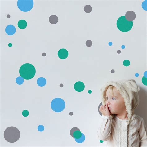 polka dot wall sticker coloured polka dot wall stickers by snuggledust studios