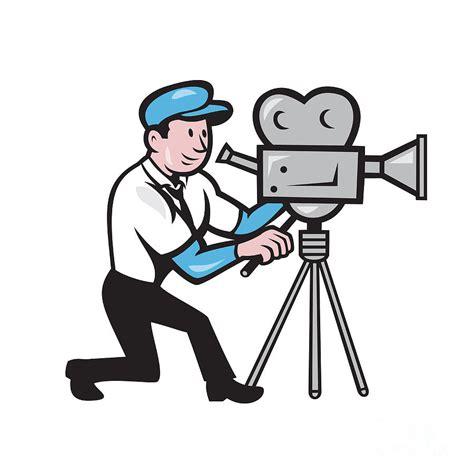 cartoon film creator cameraman vintage film movie camera side cartoon digital