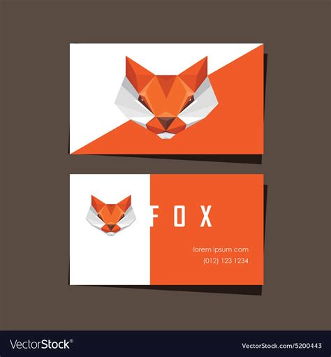 3d Origami Card - 3d origami low polygon fox business card vector image