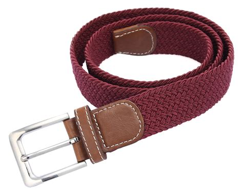 mens womens elastic stretch braided belt leather covered